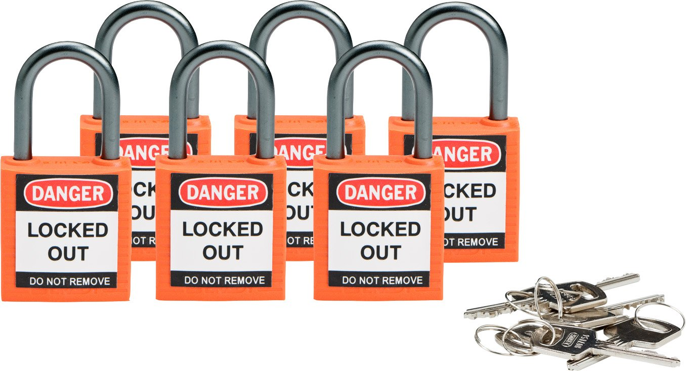 Brady Compact Safety Locks - Orange, Keyed Different (6 Locks) - 118928