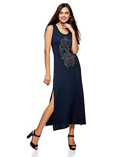 oodji Ultra Donna Maxi Abito con Teschio in Strass