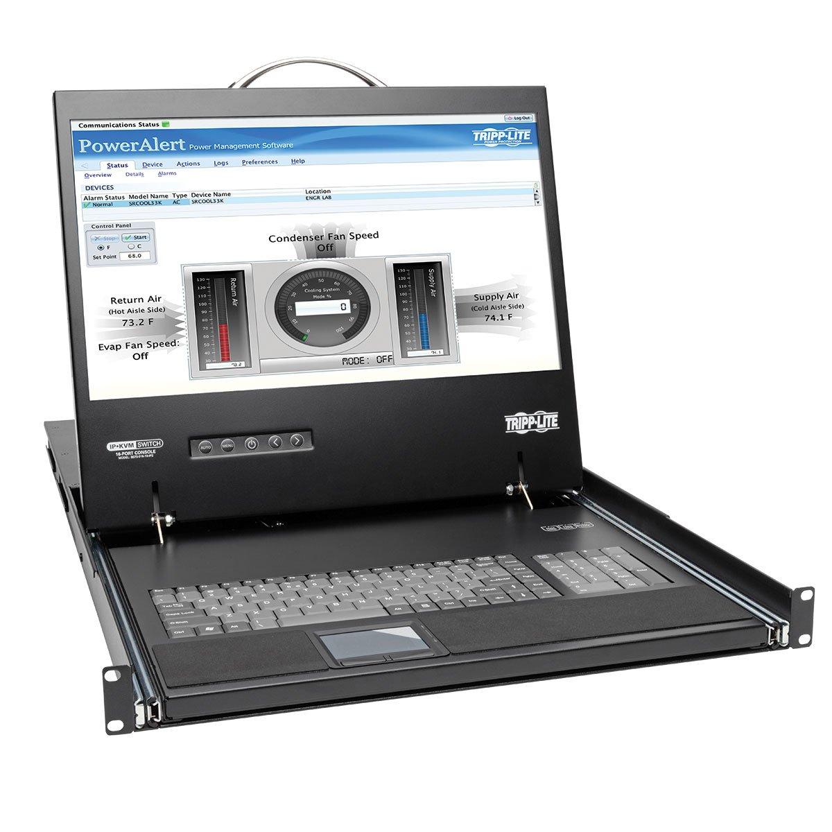 Tripp Lite 16-Port 1U Rack Console IP KVM Switch 2+1 Users w/ 19in. LCD Screen Rack-Mount (B070-016-19-IP2) by Tripp Lite
