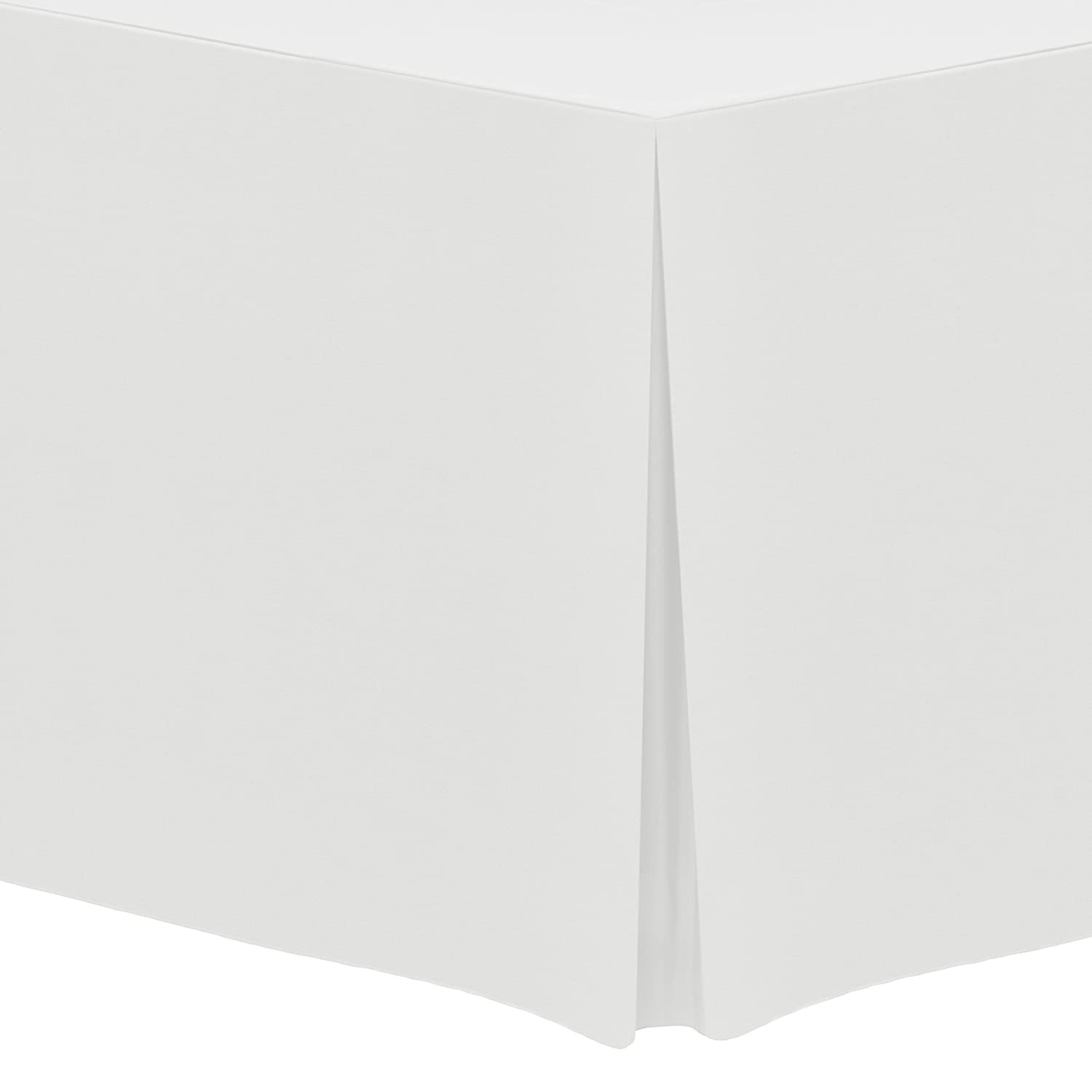 """Ultimate Textile -2 Pack- 4 ft. Fitted Polyester Tablecloth - Fits 24 x 48-Inch Rectangular Tables 36"""" High, White"""