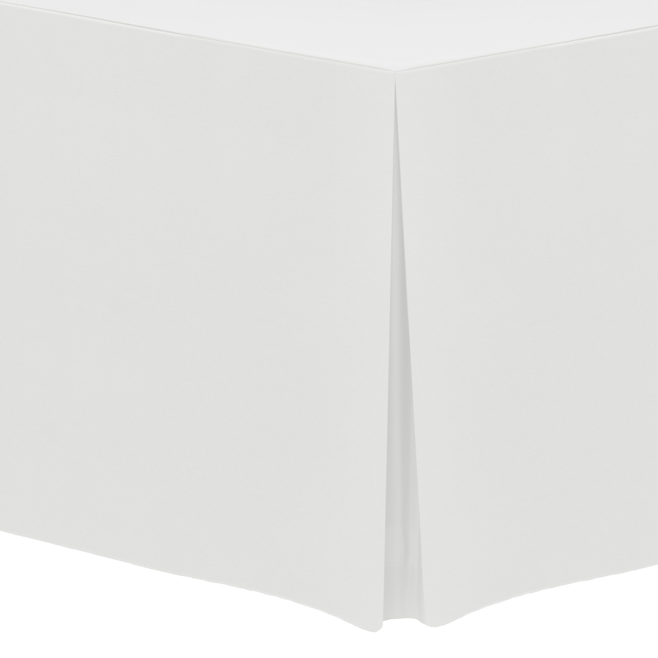 Ultimate Textile (5 Pack) 5 ft. Fitted Polyester Tablecloth - for 18 x 60-Inch Banquet and Folding Rectangular Tables, White