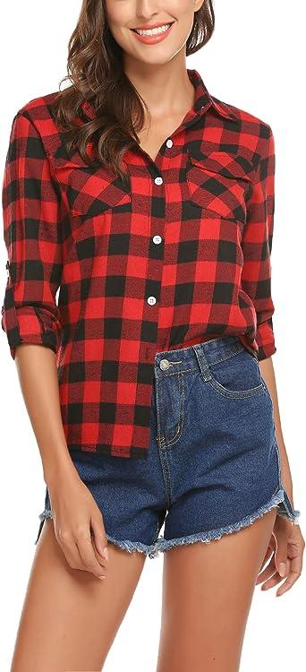S-L Fashion Women Casual Flannel Button Down Plaid Long Sleeve Shirt Tops Blouse