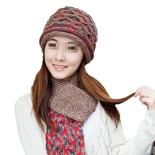 QPALZM Adulto 2 Pezzi Inverno Bundle – Cappello Sciarpa Set Knitting Ispessimento Caldo,Red-OneSize