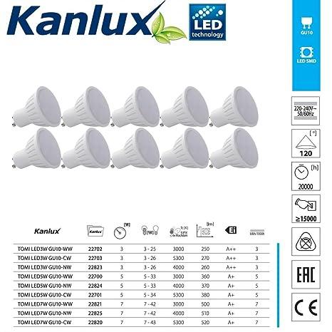 Pack de 10 bombillas LED GU10 de alta calidad, ángulo del haz de luz de 120 grados ...