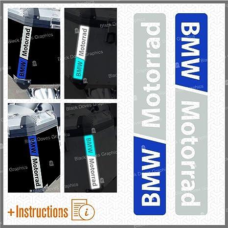 Nero//Bianco 2pcs RIFRANGENTI ADESIVI compatibile con Motorrad R 1200 1150 1250 F 800 650 F700 GS A R1200GS R1200 Touratech Motorcycle Aluminium Panniers VALIGIE LATERALI