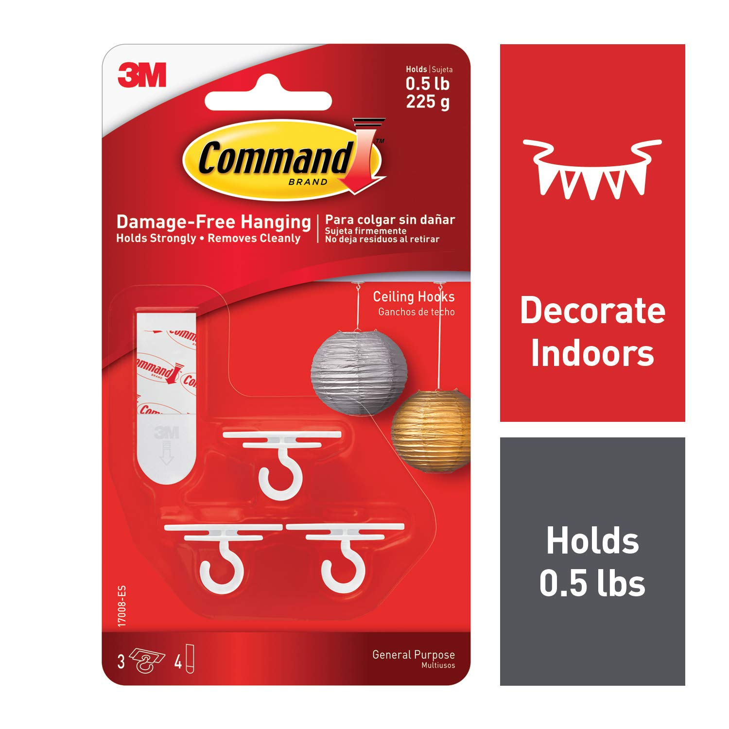 Command 17008-ES Ceiling 3 Hooks, 4 Foam Strips per, White, 4 Packs Total