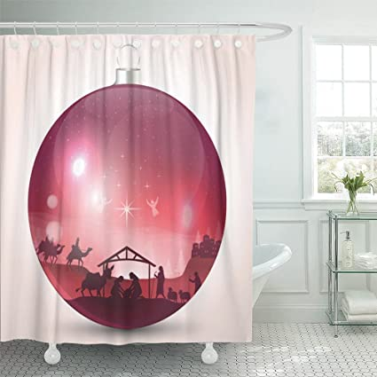 Emvency 72quotx72quot Shower Curtain Waterproof Bethlehem Christmas Ball With Nativity Scene Jesus Star