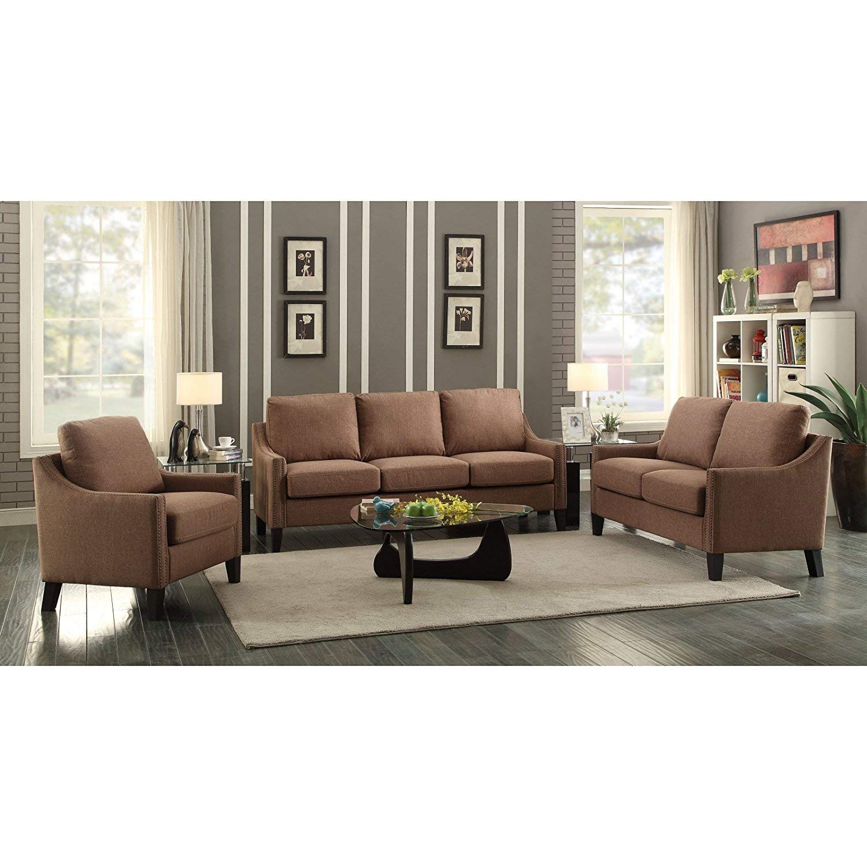 Amazon com acme furniture acme 53765 zapata junior sofa brown linen kitchen dining