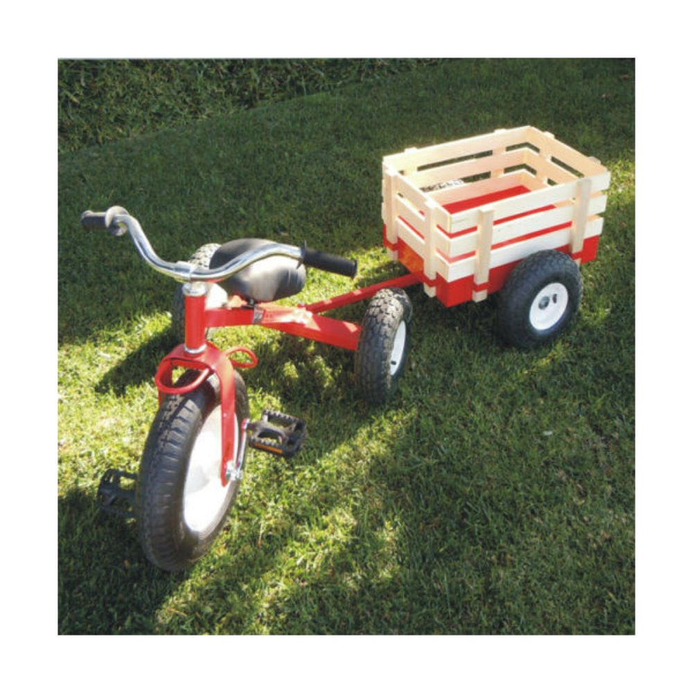 Childhood Classic Tricycle with Wagon Set Pull Along Trike Toy Kids Outdoors