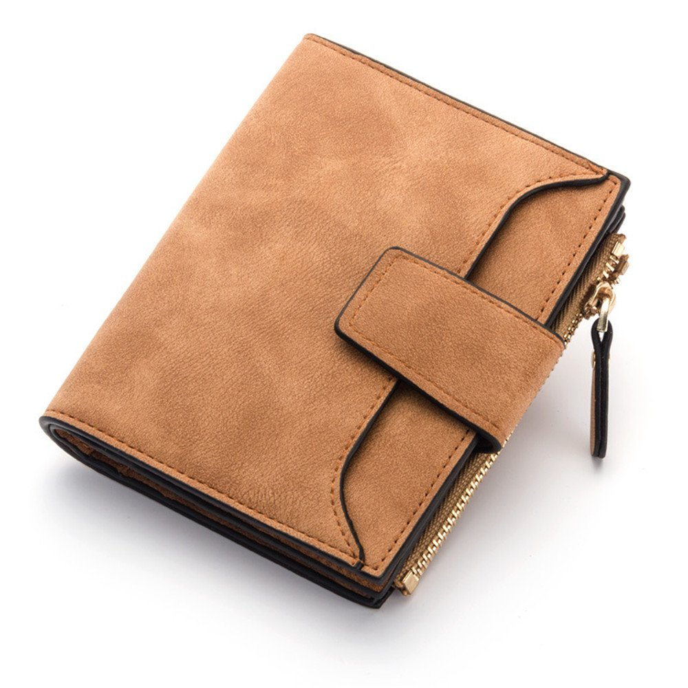 Women Small PU Leather Coin Pocket Wallet Purse with ID Window