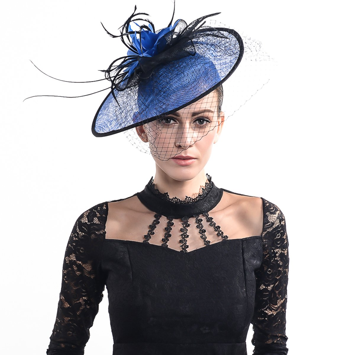 FORBUSITE Luxurious Sinamay Fascinators for Women Cocktail Hats Blue