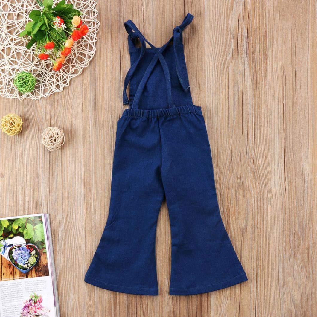Manica Corta T-Shirt 1-5 Anni 80-120 cm UOMOGO Ragazza Bambina Denim Salopette Pantaloncini Tuta Corta Pagliaccetto Jumpsuit Jeans Tuta