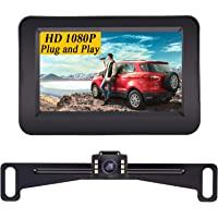 Yakry Y11 HD 1080P Vehicle Backup Camera with 4.3 Inch Monitor One Wire Kit for Reverse/Rear View License Plate Reverse…