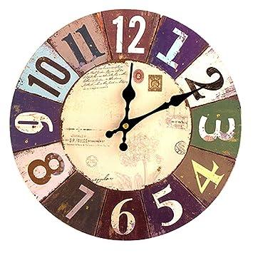 Reloj de pared Vintage, xhsion Silencioso madera reloj de pared para salón decoración funciona con pilas Farmhouse rústico relojes para cocina 12 inch: ...