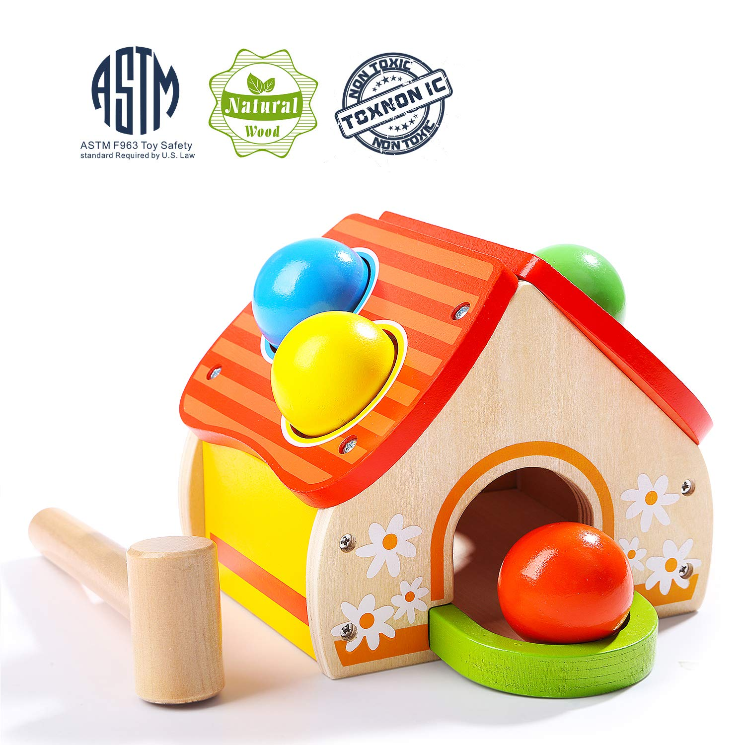 TOP BRIGHT Hammer Toy for 1 2 Year Old Boy and Girl Gifts Learning Wooden Montessori Toys for Toddlers Pounding and Color Matching Game with Ball Mallet