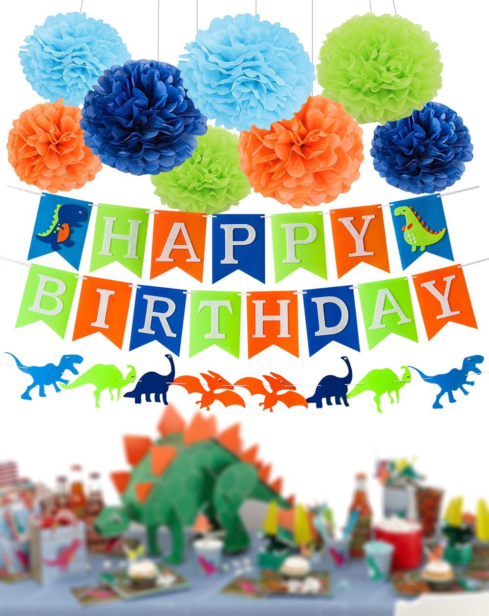 Dinosaur Party Supplies Dinosaur Happy Birthday Decorations Kit Dino Jungle Jurassic Garland Photo Props Tissue Paper Pom Poms for Kids Birthday
