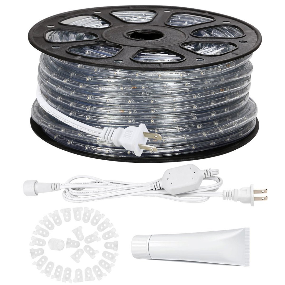 LE 150ft 110-120V AC LED Rope Lights Kit, 6000K Daylight White, Waterproof, Accessories Included, 360° Beam, Crystal Clear PVC Tubing Rope, Outdoor Rope Lighting for Christmas/Thanksgiving