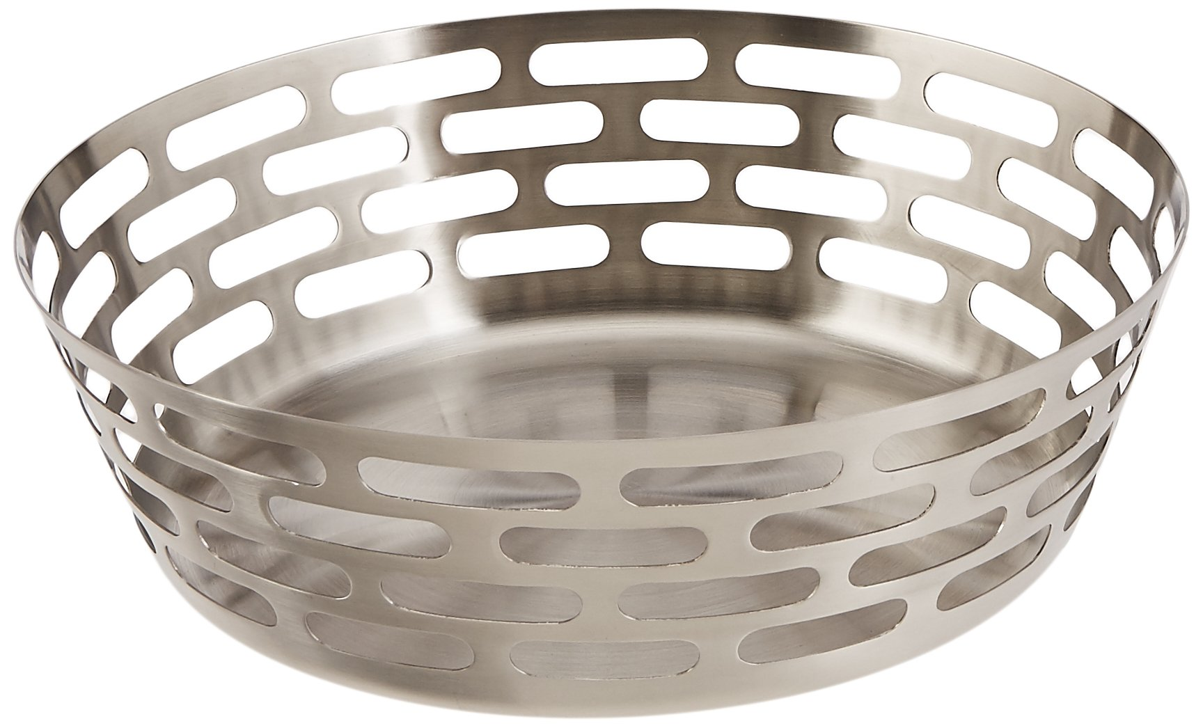 Mod18 Steelworks SB-63 Round Fruit Bowl, Brushed Stainless