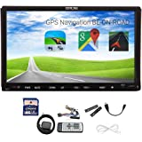 EinCar Double Din Headunit In Dash Car Stereo Video Player GPS Navigation with free SD map Card 2 Din 7inch GPS NAV SAT Radio Car CD DVD VCD Player HD Sensitive Digital Touch Screen WinCE 8 UI Design Style Analog TV RDS iPod Bluetooth for Hands free Callings&Music
