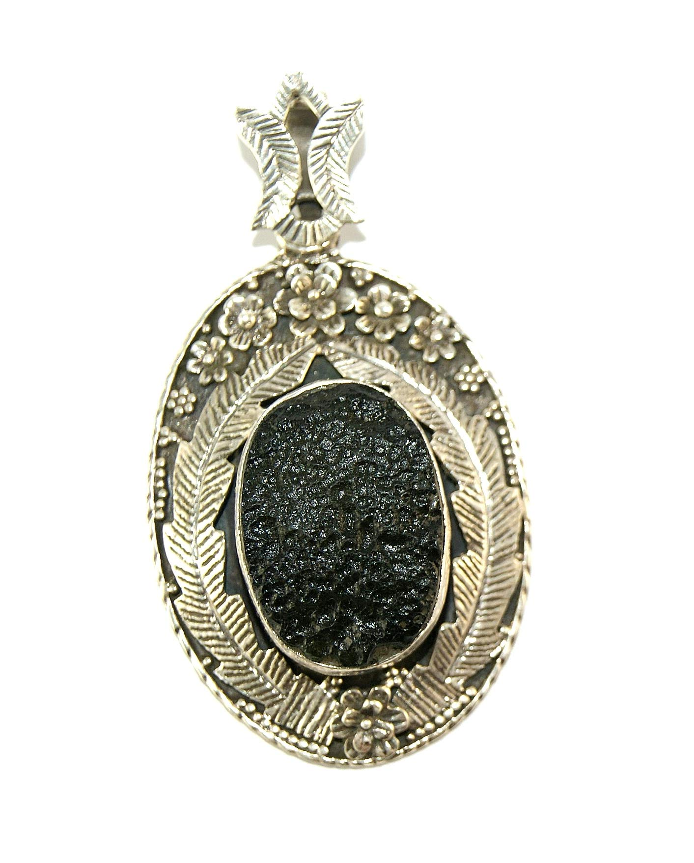 Moldavite Large Sterling Silver Stunning Vintage Design Pendant by Gifts and Guidance