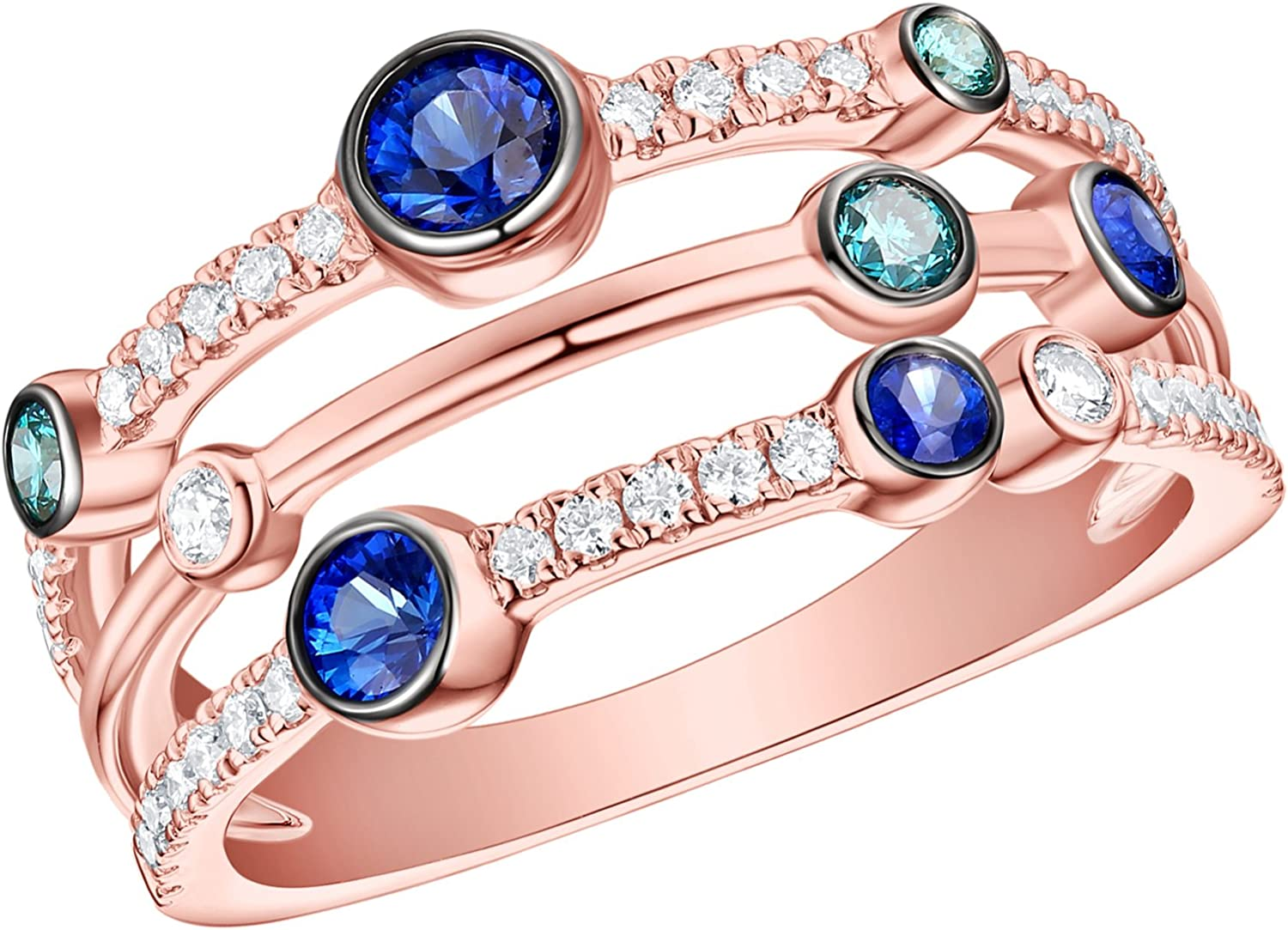 Prism Jewel 0.29 Carat Round Blue /& White Diamond Delicate Twisted Ring
