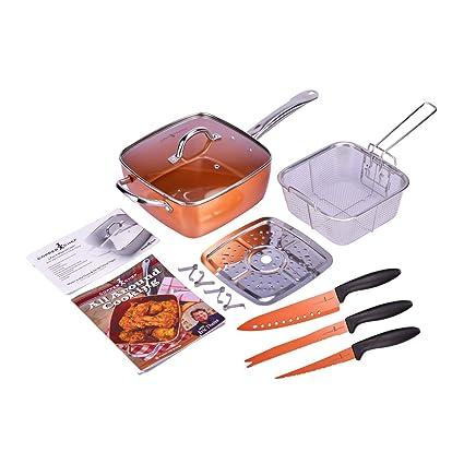 Sarten Copper Chef cuadrada con revestimiento de partículas de cobre ...