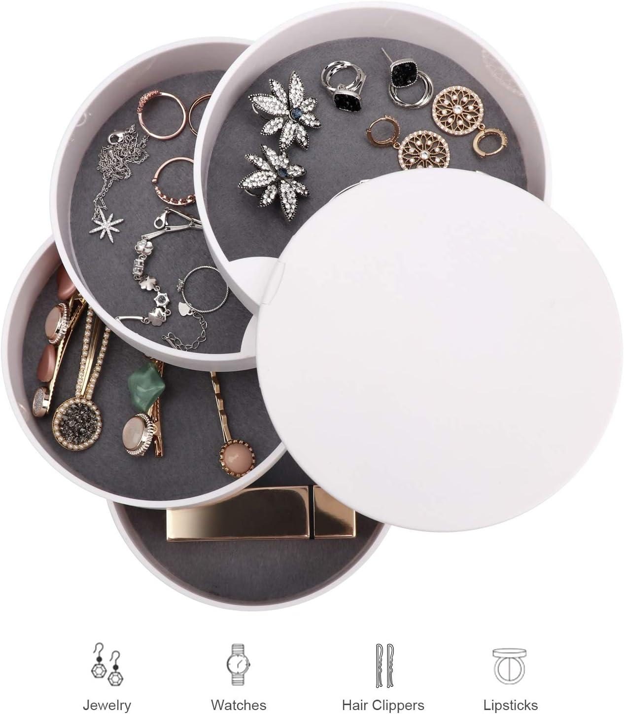Coffret /à Bijoux de 4 Niveaux avec Couvercle Blanc Allinside Bo/îte /à Bijoux avec Miroir Rotation de 360 Degr/és Organisateur de Bijoux de Rangement pour Collier Bracelet Boucles Bagues
