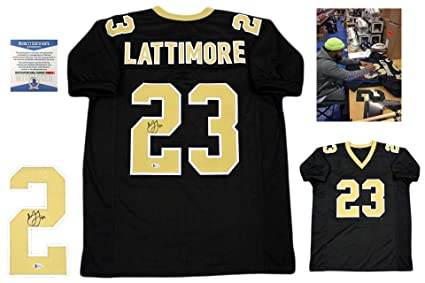 Image Unavailable. Image not available for. Color  Marshon Lattimore  Autographed Signed Jersey - Beckett Authentic - Black 824b8dbf5