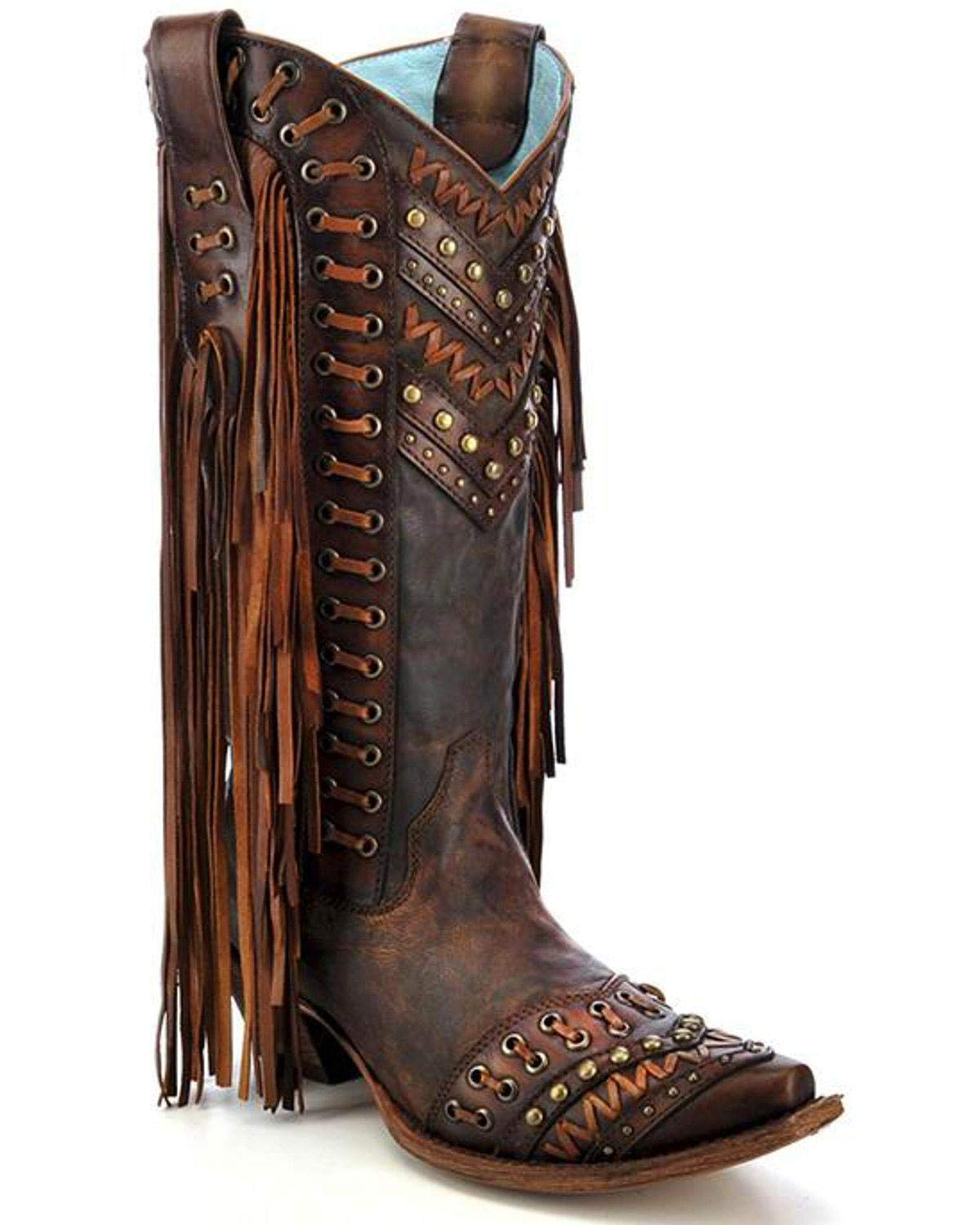 Brown 5 B(M) US Brown 5 B(M) US Corral Women's 14-inch Brown Tan Woven Details & Fringed Sides Snip Toe Cowboy Boots Sizes 5-12 B