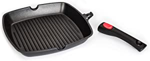 "CAMMEX Square Grill Pans with Detachable Snap-on Handle, Cast Aluminum Cookware for Induction/Electric/Gas Stove Tops, Featuring Nonstick Whitford Coatings (PFOA Free), 11"", Black"