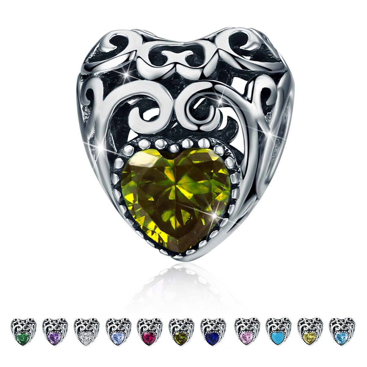 Birthstone Charms- Leaves Wave Heart Bead Charms- 925 Sterling Silver Openwork Charm fit Pandora Charm Bracelet Necklace for Women, Daughter, Wife, Girlfriend, Mother BJ09015 (August)