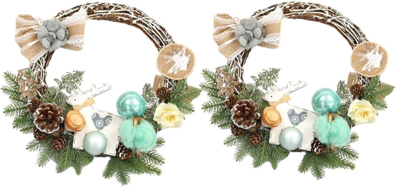 AOXING 2 piezas de nueva corona de Navidad de Acción de Gracias guirnalda de Navidad artificial flocado madera luminosa alce hermoso árbol de Navidad colgante ornamento con material ambiental