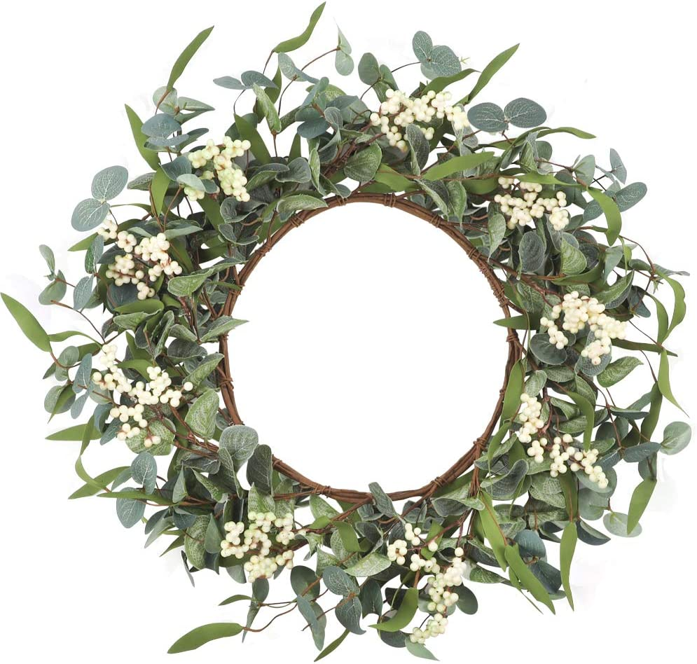 CEWOR Artificial Eucalyptus Wreath 20inch Green Leaf Wreath for Festival Celebration Front Door Wall Window Party Decoration