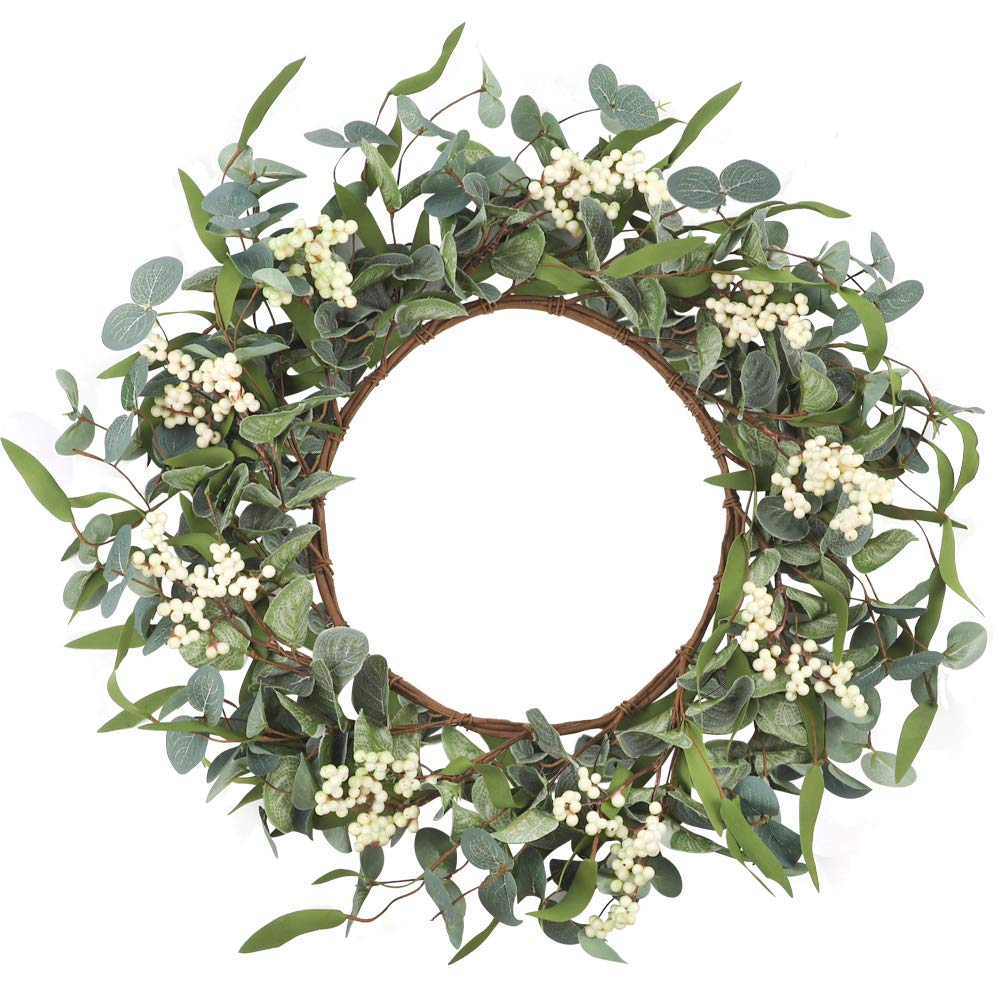 Cewor Artificial Eucalyptus Wreath 20inch Large Green Leaf Wreath For Festival Celebration Front Door Wall Window Party Decoration Buy Online In Bahamas At Bahamas Desertcart Com Productid 158106231