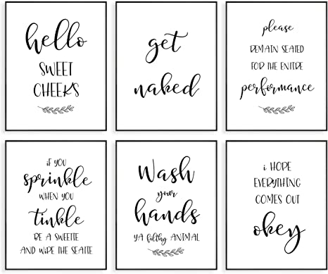 Rustic Farmhouse Signs Guest Bath Pictures Farmstyle Funny Bathroom Art Restroom Decorations Half Bath Wall Decor Funny Bathroom Decor Quotes Wall Print Rustic Wisdom 8x10 Unframed Prints Artwork