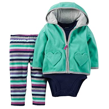 79f2f179f Carters Infant Girl 3 PC Blue Creeper Striped Leggings Green Hoodie Jacket  3m