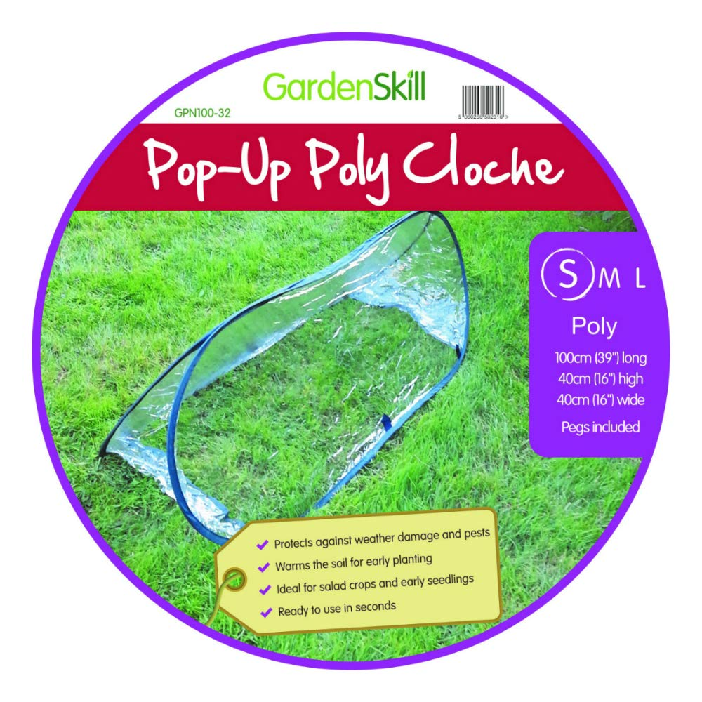 Poly Pop Up UPVC Ultra-Clear Garden Cloche Tunnel Mini Greenhouse 1m x 0.4m x 0.4m GardenSkill
