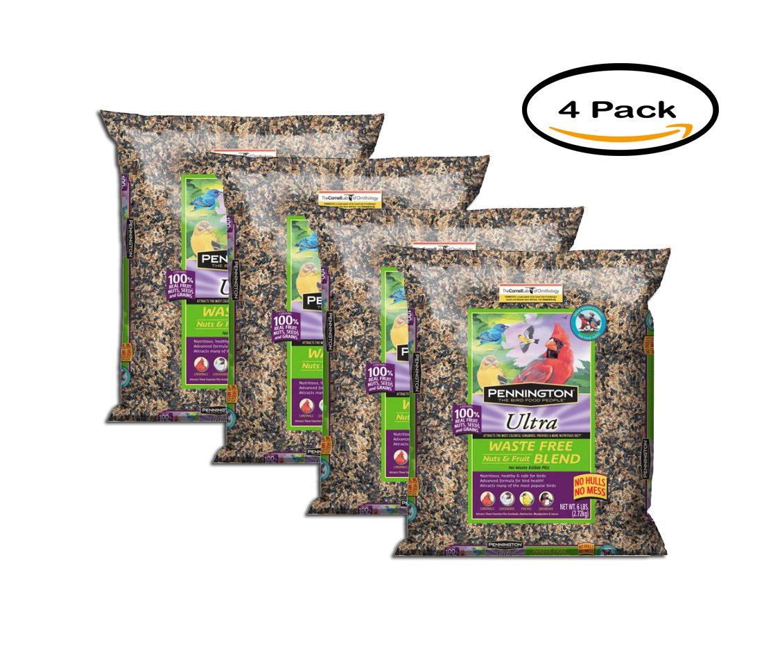 PACK OF 4 - Pennington Ultra Waste Free (Fruit & Nut) Blend Wild Bird Feed, 6 lbs by Pennington