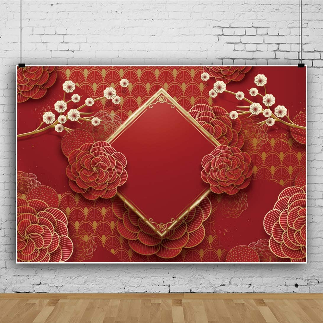 Chinese New Year Photography Backdrop 8x6ft Red Festive Paper Art Background Spring Festival Scrolls Abstract Peony Wintersweet Winter Holiday Family Home Party Room Decor Photo Prop Poster