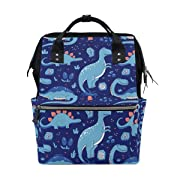 My Little Nest Large Capacity Baby Diaper Bag Blue Dinosaurs Durable Canvas Multi Function Travel Backpack for Mom Girls