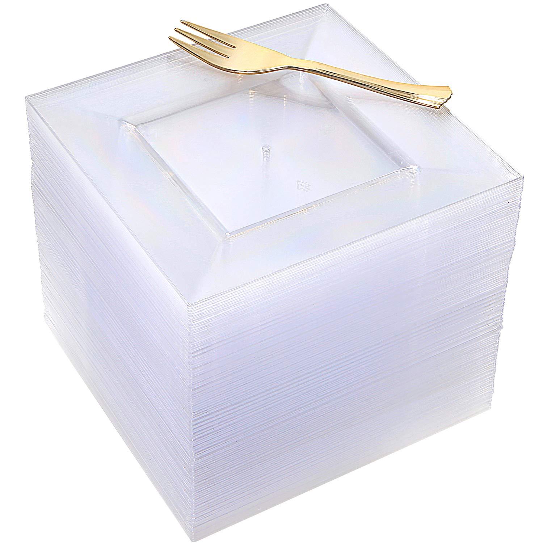 100pcs Square Dessert Plates with 100pcs Gold Dessert Forks, Clear Premium Plastic Salad Plates, Party Essentials Appetizer Plates,Gold Plastic Silerware, 6'' Clear Dessert Plates and 5'' Gold Forks