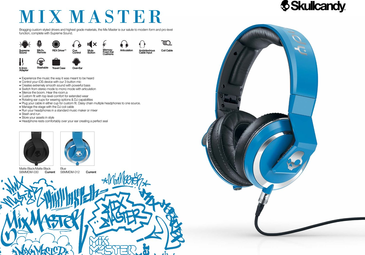Skullcandy Mix Master Headphones with DJ Capabilities and 3 Button Mic, Matte Black by Skullcandy (Image #2)