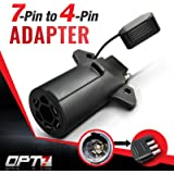 OPT7 Weatherproof 7 Way Flat Blade to 4 Way Pin Adapter w/ Secure Tab - For Trailer Tow Hitch and Redline Tailgate LED