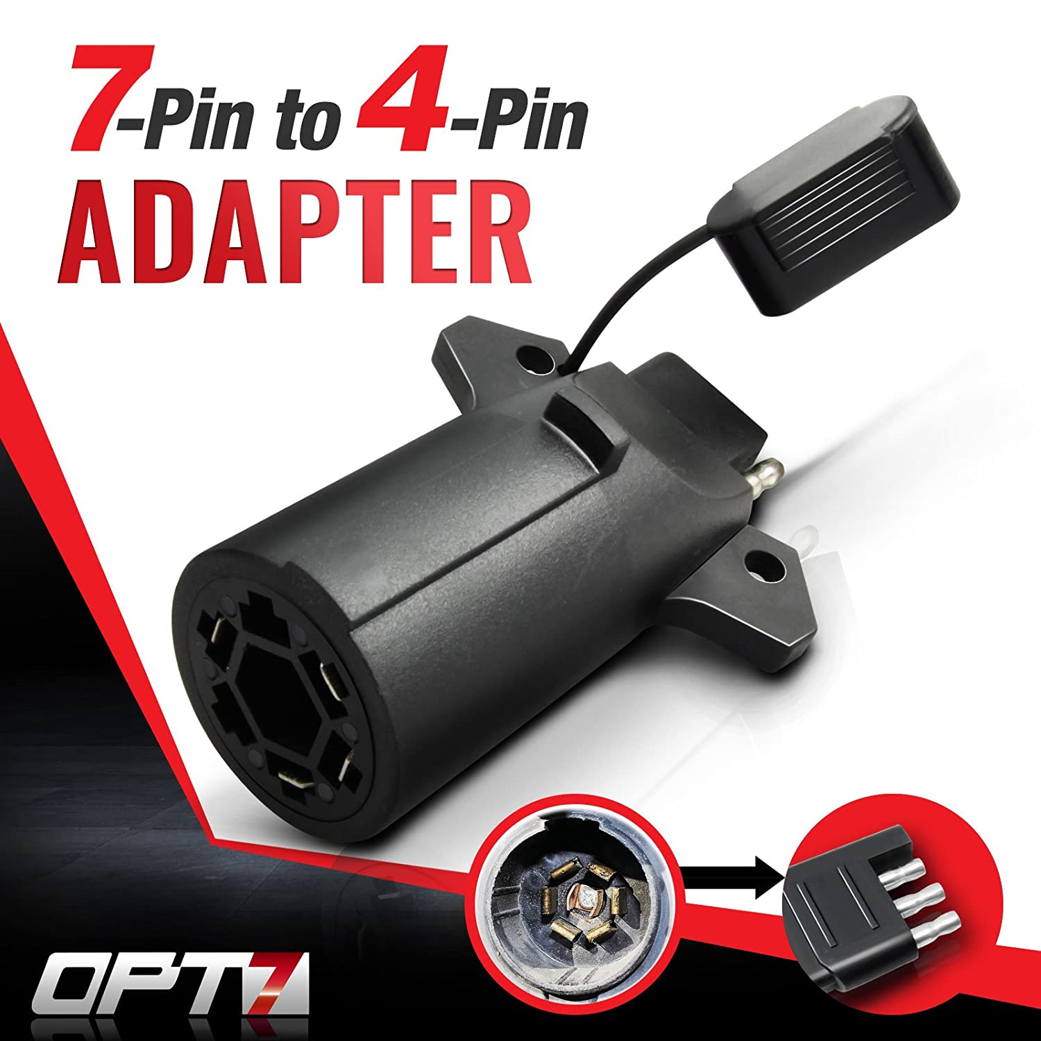Amazon.com: OPT7 Weatherproof 7 Way Flat Blade to 4 Way Pin Adapter  w/Secure Tab - for Trailer Tow Hitch and Redline Tailgate LED: Automotive