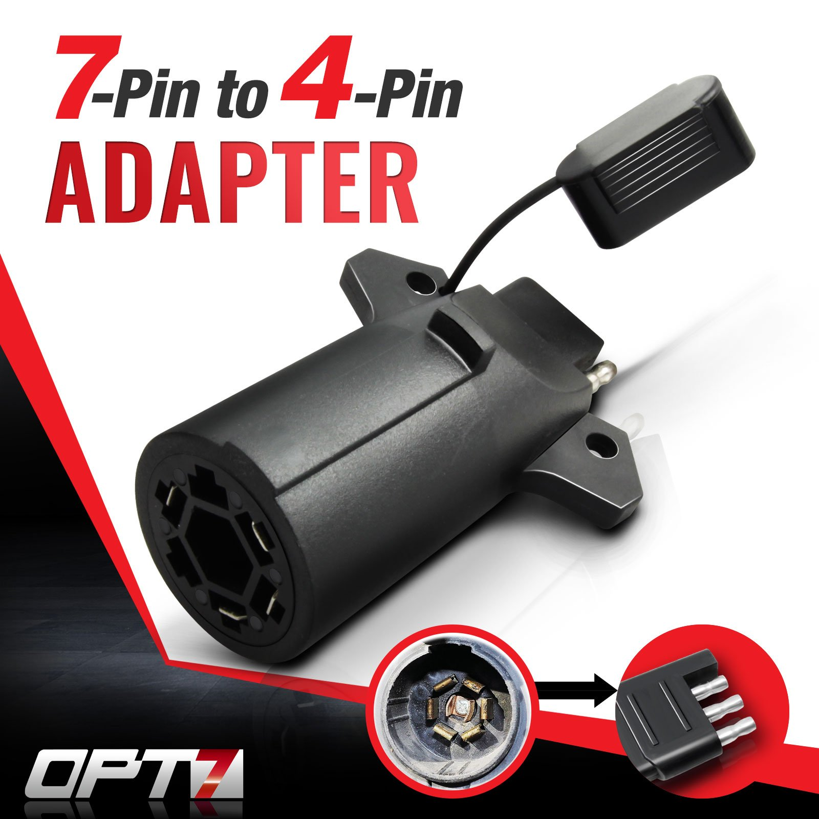 OPT7 Weatherproof 7 Way Flat Blade to 4 Way Pin Adapter w/ Secure Tab -