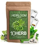 10 Culinary Herb Seed Vault - Heirloom and Non GMO - 3000+ Seeds for Planting for Outdoor or Indoor Herb Garden, Basil…
