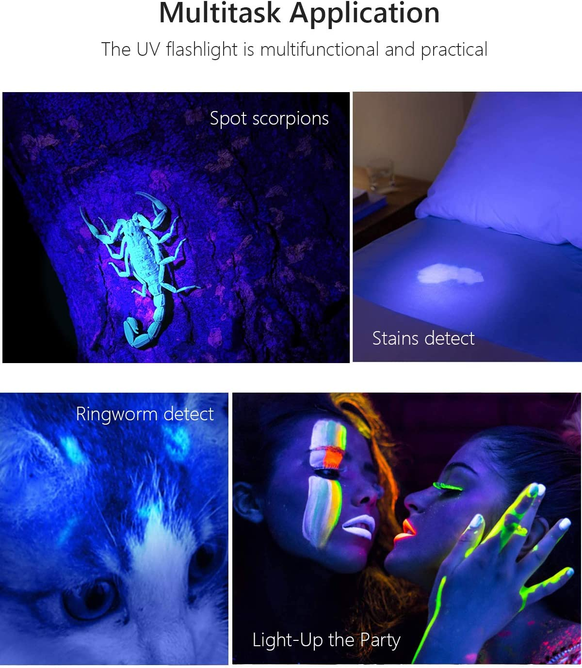 MXLEGNT UV Black Light Flashlight 2 Pack, LED UV Torch Mini Blacklight Ultraviolet Pen Lights for Leak and Hotel Inspection - Pet Urine, Bed Bug, Scorpion, Stain, and Dye Detector: Pet Supplies