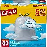 Glad OdorShield Tall Kitchen Drawstring Trash Bags - Febreze Fresh Clean, White, 13 Gallon, 80 count