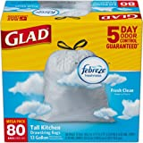 Glad OdorShield Tall Kitchen Drawstring Trash Bags - Febreze Fresh Clean, White, 13 Gallon, 80 count