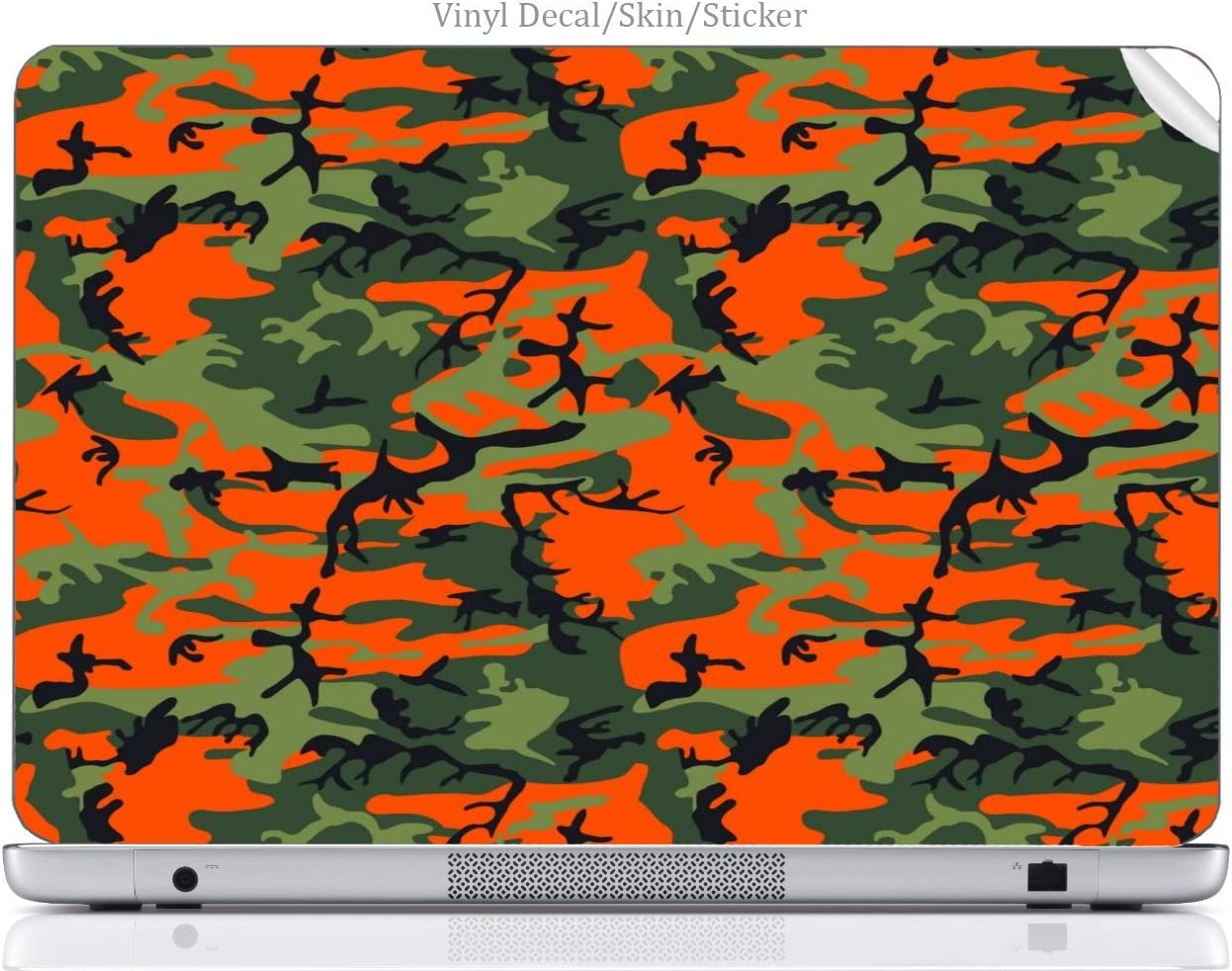 Laptop VINYL DECAL Sticker Skin Print Orange & Green Camo Custom Art fits Hp Elitebook 8460p